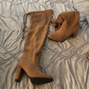 light brown thigh high boots